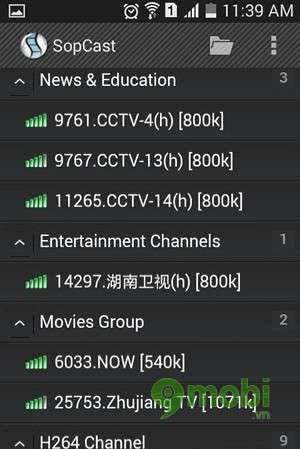 cach dung sopcast tren android