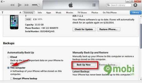 Backup dữ liệu iPhone bằng itunes