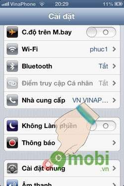 thiet lap cai dat mac dinh cho iphone