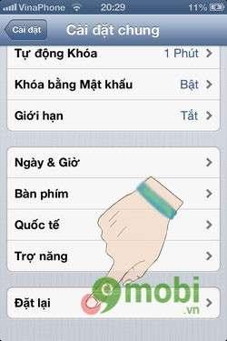 khoi phuc cai dat mac dinh cho iphone
