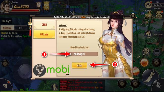 nhap code game tieu dao mobile