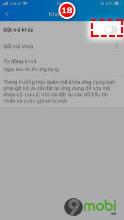 Tat ma khoa Zalo cho iPhone